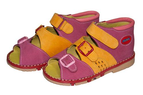 Ортопедические босоножки желто-розовые Таши Орто, (Турция)