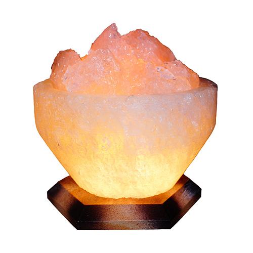 Светильник соляной Чаша огня 'Saltlamp' 4-5 кг с цветной лампочкой