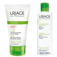 Набор Урьяж Исеак - Защитный крем флюид от солнца SPF 50+ и Мицеллярная вода для жирной кожи 50 мл Uriage