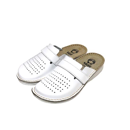 Женские кожаные тапочки Mubb White 160102
