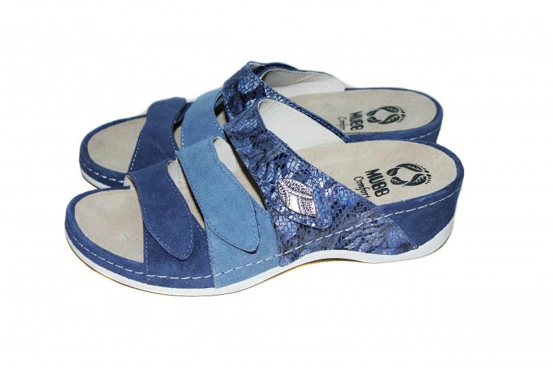 Женские кожаные шлепанцы VESUVIO BLUE, ТМ Mubb