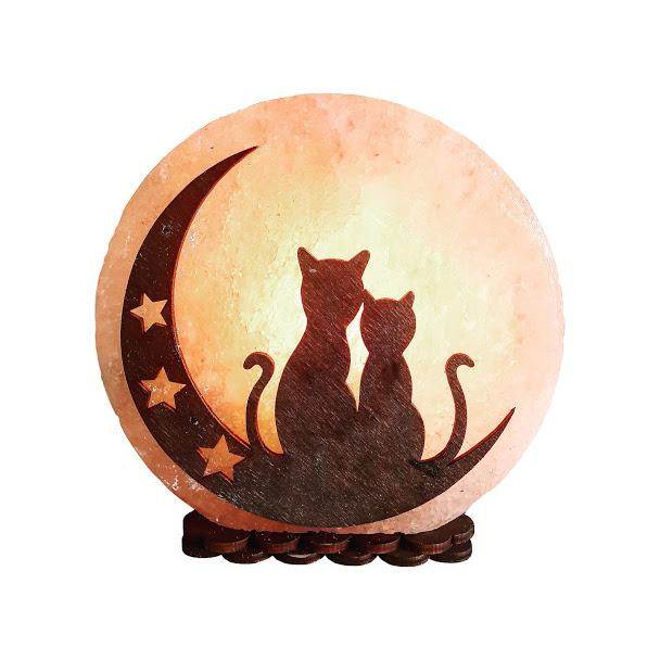 Соляной светильник 'Коты на Луне' (3-4 кг) Saltlamp