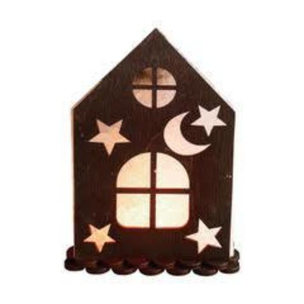 Соляной светильник с деревянными элементами Дом №2 2кг Saltlamp