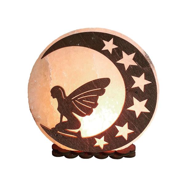 Соляной светильник с деревянными элементами Фея на луне 3-4кг Артемсоль