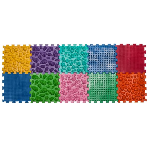 Массажный коврик Микс Пазлы 10 элементов з игрой Лесные приключения Ortek
